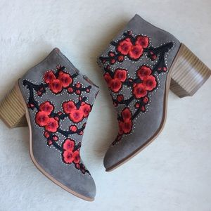 Jeffrey Campbell Floral Embroidered Suede Boots